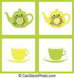Teapot with cup, herbal tea. Seamless pattern. Vector...