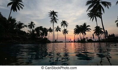 Beautiful sunset at a beach resort in the tropics.
