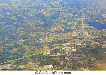 Aerial view of Lakeland cityscape at morning, Florida