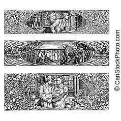 Three assorted art-nouveau border decorations - Three...