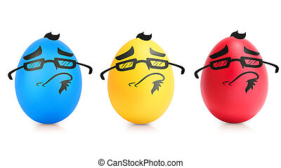 Concept of Easter egg with emotions faces isolated on white