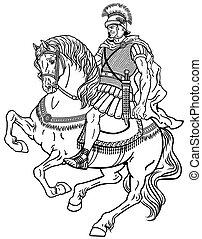 roman warrior on the horse black white - roman warrior...