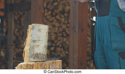 Two Logs Being Splitted - A logger splitting wood for...