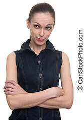 portrait of sly young woman plotting something isolated on...