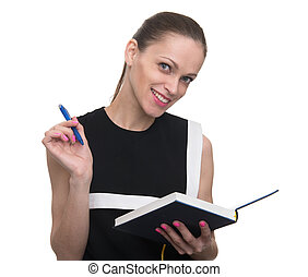 young happy woman holds notepad and pen, isolated on white