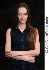 beautiful young woman Black background - Portrait of a...