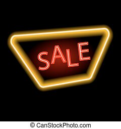 Sale glowing neon sign. Neon sale sign. Light vector background for your advertise, discounts and business.Vector illustration