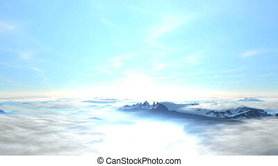 Sunrise above the clouds and mounta - Bright blue sky Camera...