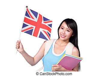 Happy College Student girl hold British flag. Isolated on...