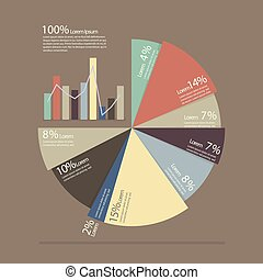 Pie chart and bar chart for documents and reports infographic