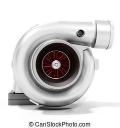 3d turbine turbo charger, car booster on white background 3D...