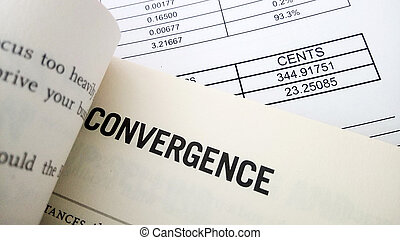Convergence word on book. Business success concept.