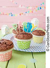 pequeno, chocolate, Muffins,