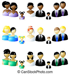 Three sets of wedding party icons - Three versions of...