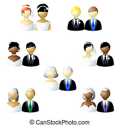 Non-traditional weddings icon set - Set of icons of...