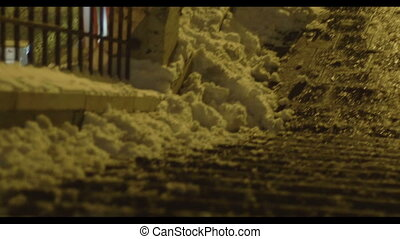 Frozen Stairs Night Winter - Snowy granite stairs on cold...