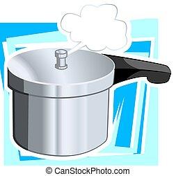 Utensil - Illustration of pressure cooker with doom