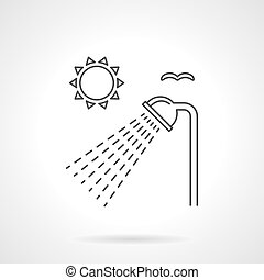 Outdoor shower flat line vector icon - Sun and shower head...