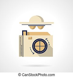 Detective camera flat color vector icon - Photo camera and...