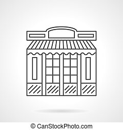 Chocolate shop facade flat line vector icon