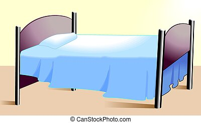 Bed	 - Illustration of a bed with pillows