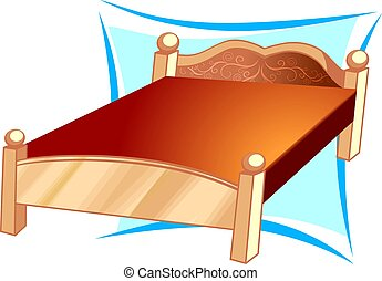 Bed	 - Illustration of a  decorative  bed with pillows