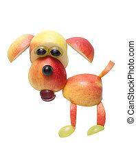 divertido, perro, hecho, de, frutas, en, aislado, Plano de...
