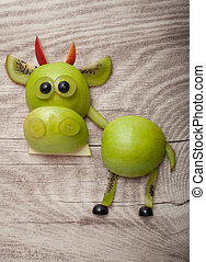 kiwi, divertido, hecho, manzana, de madera, verde, Plano de...