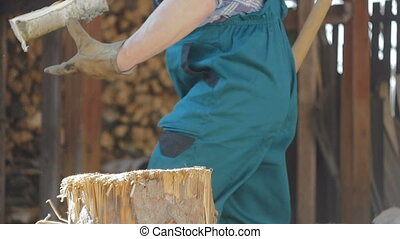 Lumberjack Chopping Hard Wood - Slow motion of skilled...