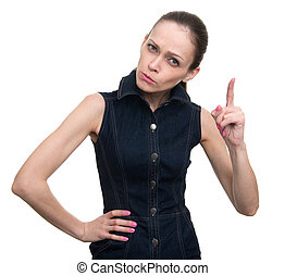 serious young woman with her finger up
