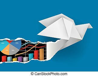 Origami bird ripping paper - Origami dove ripping blue paper...