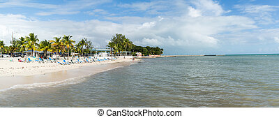 Panorama Higgs Beach in Key West, Florida Keys - Panorama of...