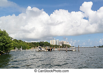 Biscayne Bay in Miami, Florida - Jetty with boats in...