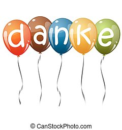 flying balloons with text DANKE - five flying balloons multi...