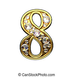 8 isolated golden letters with diamonds on white