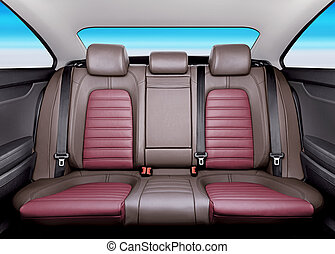 back seat - Back passenger seats in modern sport car,...