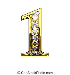 1 isolated golden letters with diamonds on white