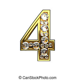 4 isolated golden letters with diamonds on white