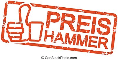 red stamp PREISHAMMER - red grunge stamp with frame, thumbs...