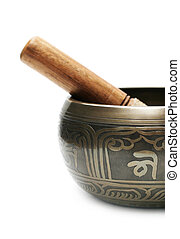 Tibetan singing bowl isolated on white