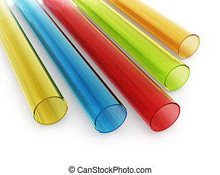 Multi colored acrylic tubes isolated on white background