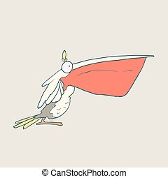 Vector hand drawn funny bird pelican with red beak on plain background