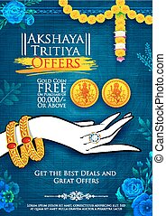 Akshaya Tritiya celebration Sale promotion - illustration of...
