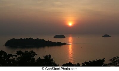 Top view of the Koh Chang island, Thailand during amazing...