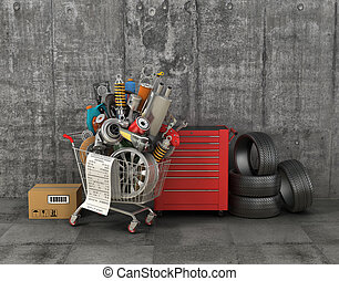Auto parts with shopping trolley in garage. Automotive...