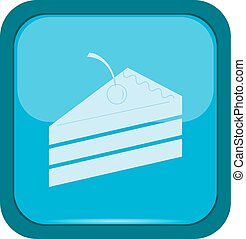 Cake icon on a blue button