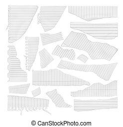 collection of various pieces of note paper on white background. each one is shot separately