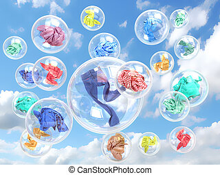 clothing in soap bubbles on sky background concept of...