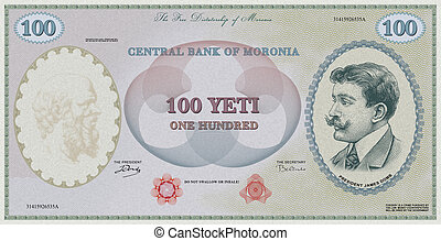 Fake 100 yeti note - Graphic divertissement, forged note of...