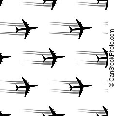 Seamless background with aircrafts Vector illustration Black...